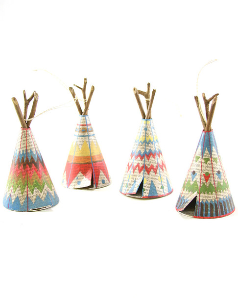 Cody Foster Set of 4 Patterned Tepee Ornaments~3050692433