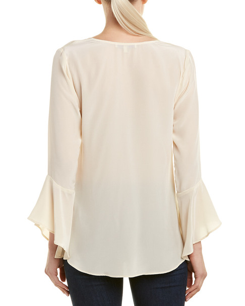 Lavender Brown Bell-Sleeve Silk Top~1411701643