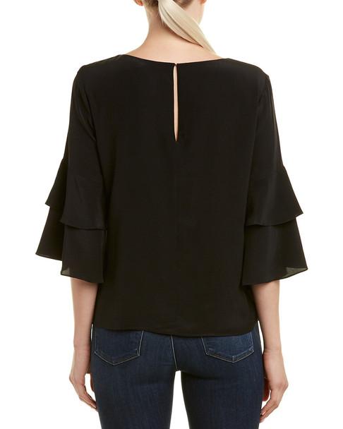 Lavender Brown Tiered Sleeve Silk Top~1411701646