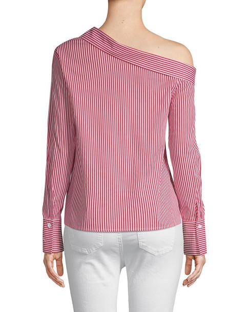 Lea & Viola One-Shoulder Stripe Shirt~1411931065