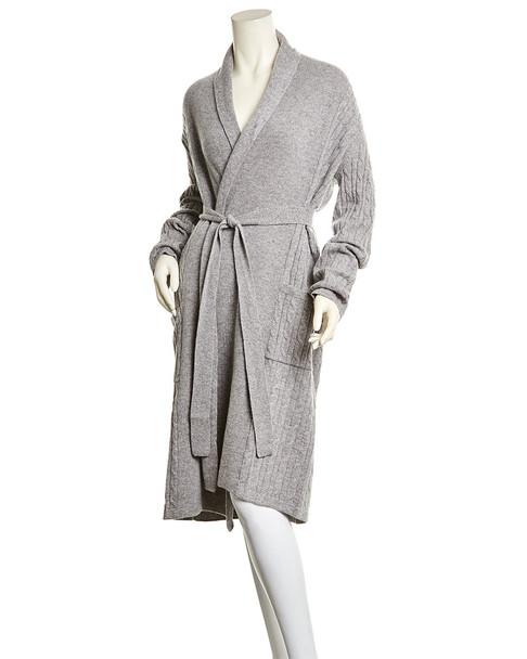 sofiacashmere Cable Cashmere Bathrobe~1412962012