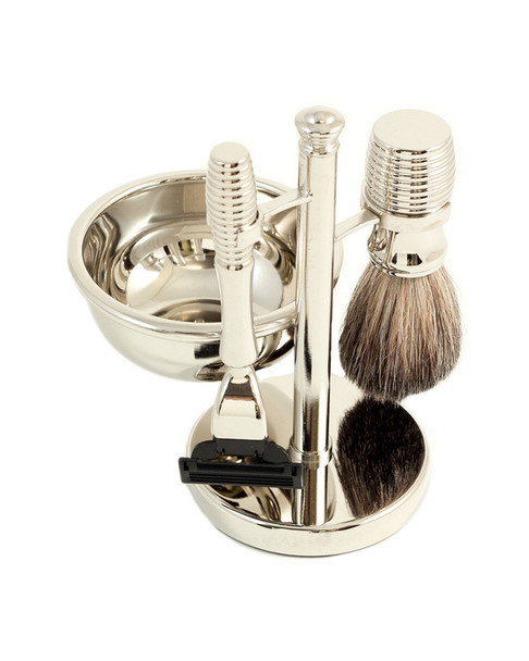 Bey-Berk Mach 3 Razor & Pure Badger Brush with Soap Dish~3010231690
