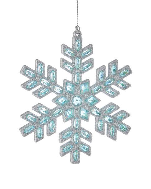 Kurt Adler 4.75-Inch Acrylic Blue Silver Set of 2 Snowflake Ornaments~3050117548