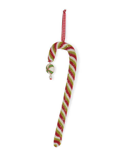 K&K Interiors Red White & Green Candy Cane Ornament~3050656382