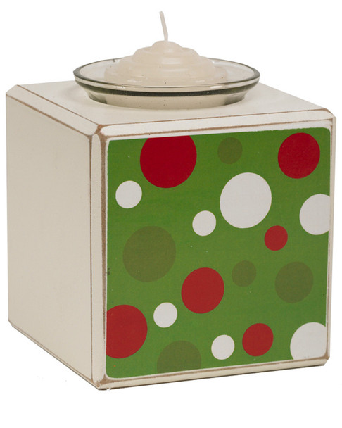 K&K Interiors Green Polka Dot Single Votive Holder~3050656384