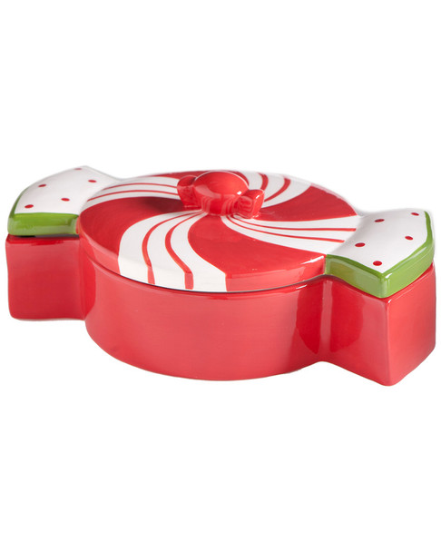K&K Interiors 10.5in Red Peppermint Lidded Candy Dish~3050656385