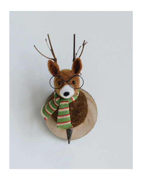 creative co-op Wool Felt Deer Head Wall Decor on Wood Base~3050672185