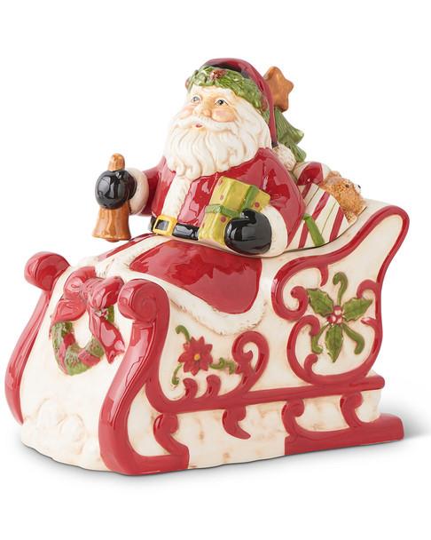K&K Interiors 10in Santa on Sleigh Ceramic Cookie Jar~3050721822