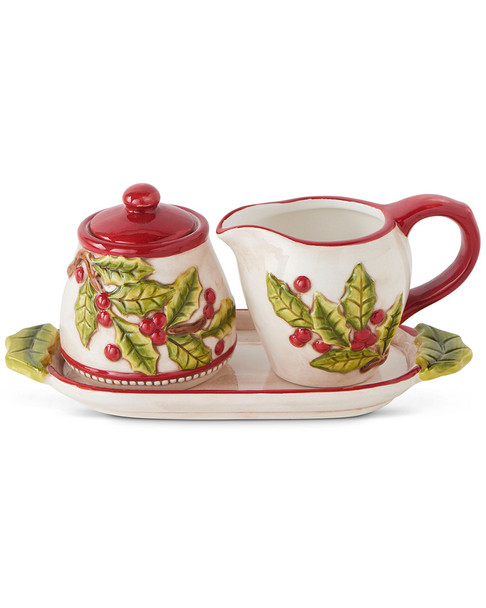 K&K Interiors 3pc Ceramic Sugar & Creamer Set~3050721824