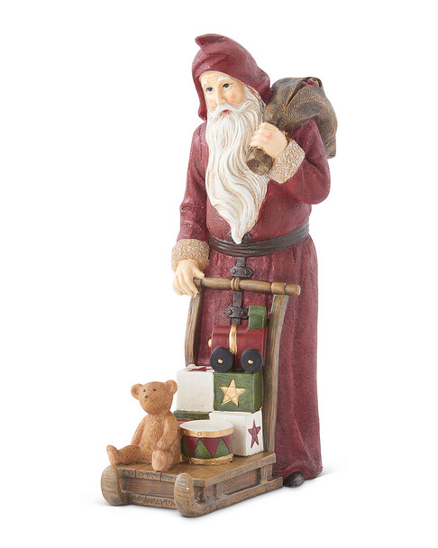 K&K Interiors 13.5in Santa Figurine Pushing Sled with Gifts~3050721829