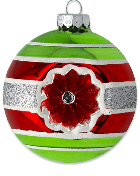 Kat & Annie Striped Round with Red Reflector Ornament~3050758808