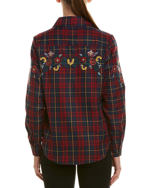 Haute Rogue Viola plaid Embroidered Top~1411622614