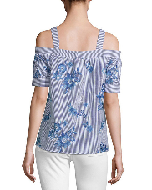 SUPPLY & DEMAND Max Stripe and Floral Cold-Shoulder Top~1411787523