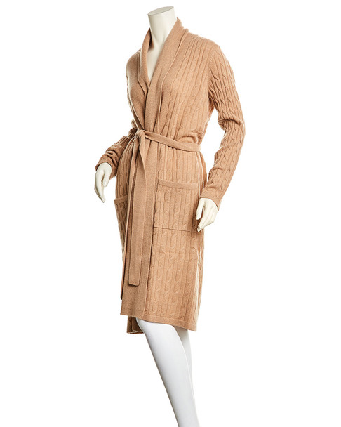 sofiacashmere Cable Cashmere Bathrobe~1412962011