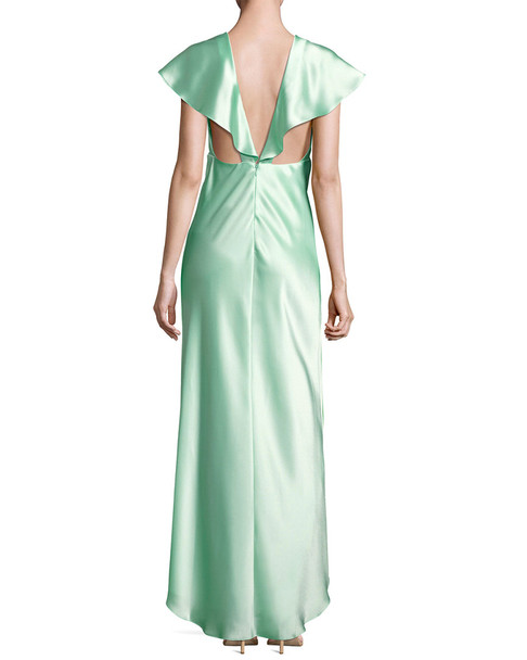 ABS by Allen Schwartz Crewneck Cap Sleeve High Low Gown~1452461856