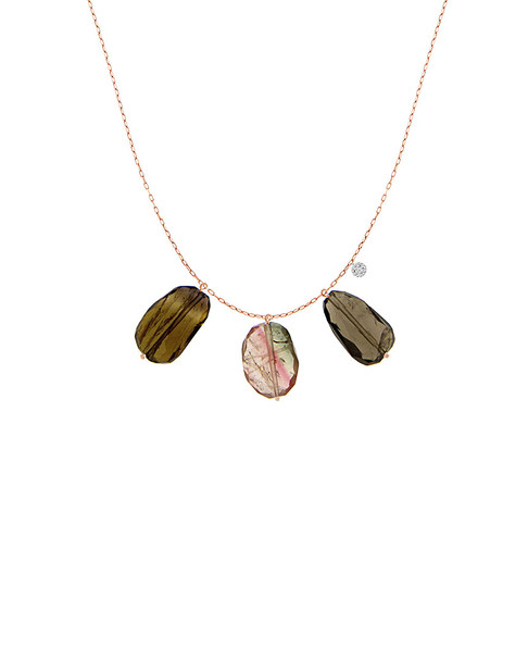 Meira T 14K Rose Gold 3.21 ct. tw. Diamond & Watermelon Tourmaline Necklace~6030961300