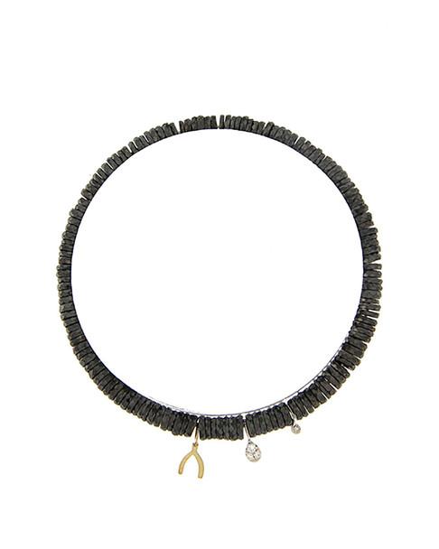 Meira T 14K Two-Tone Diamond & Hematite Wishbone Bracelet~6030961305