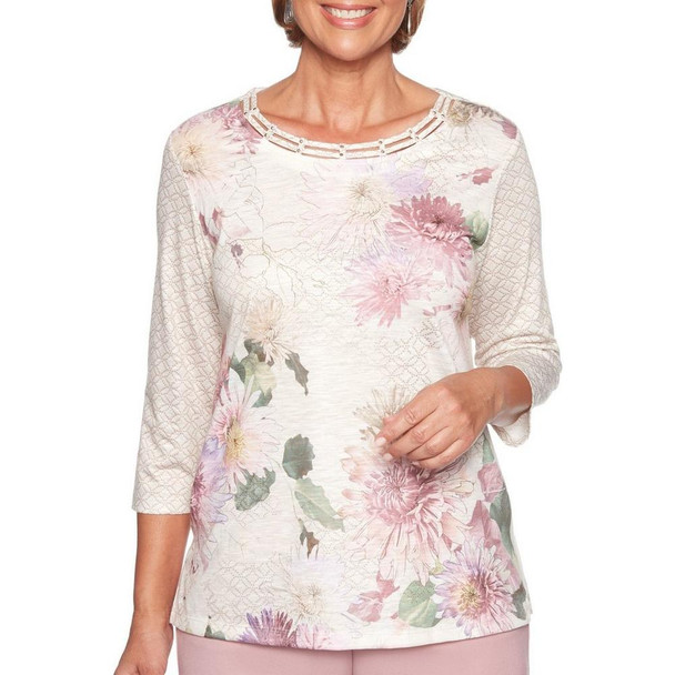 Alfred Dunner Floral Textured Knit Top~36156 NN