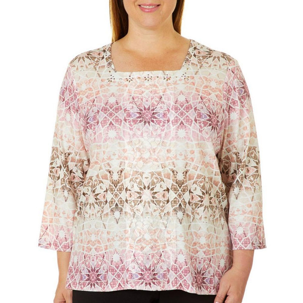 Alfred Dunner Plus Mosaic Biadere Embellished Top~36252 NN