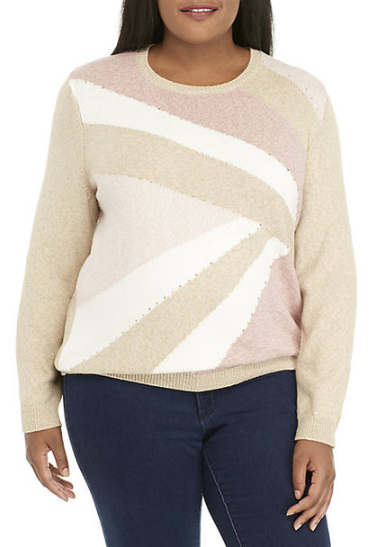 Alfred Dunner Multi Plus Size Colorblock Gold-Tone Embellished Sweater~36264 NN