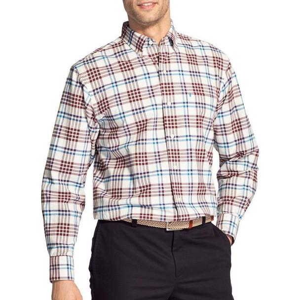 IZOD Mens Oxford Tartan Plaid Woven Button Down Shirt~45GW024