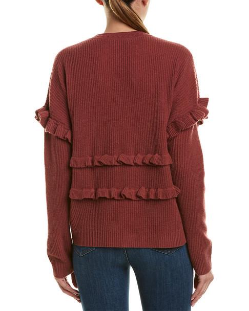 White + Warren Ruffle-Trim Cashmere Sweater~1411667155