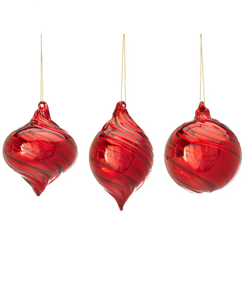 Kurt Adler 3pc Red Glass Ball, Onion, Set of 3~3010427423