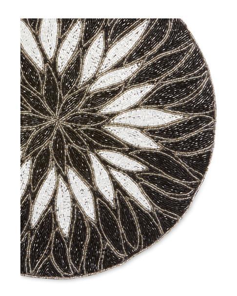 Nomi K Black & White Flower Motif Hand Beaded Placemat~3050019010