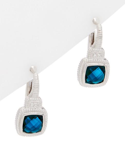 Judith Ripka La Petite Silver Gemstone Drop Earrings~6030981364