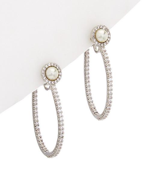 Carolee Pearl Premier CZ Hoop Earrings~6030021755
