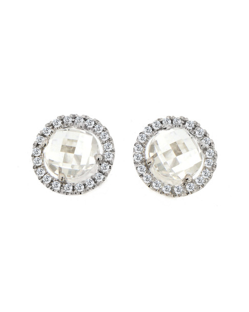 Meira T 14K Over Silver 0.61 ct. tw. Diamond & White Topaz Halo Studs~6030017151