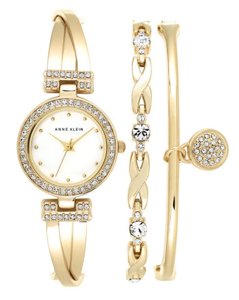 Anne Klein 3-Piece Round Gold-Tone Bangle Watch Set with Swarovski Crystal Accents~AK / 1868GBST