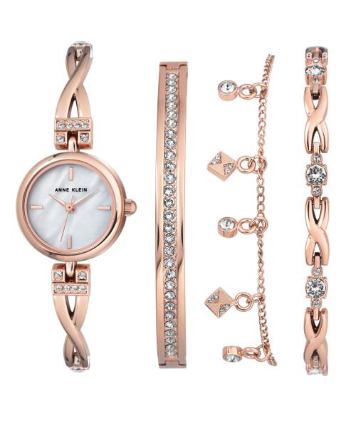 Anne Klein 4-Piece Rose Gold-Tone Bangle Watch Set with Swarovski Crystal Accents~AK / 3082RGST
