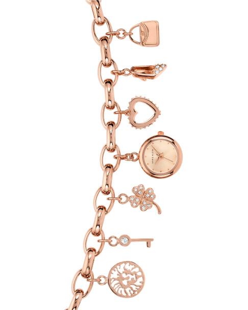 Anne Klein Round Rose Gold-Tone Charm Bracelet Watch with Swarovski Crystal Accents~10 / 7604CHRG