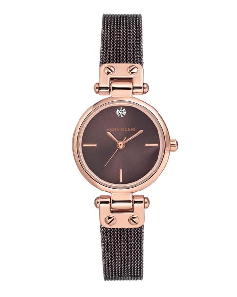 Anne Klein Round IP Brown Plated & Rose Gold-Tone Stainless Steel Mesh Bracelet Watch~AK / 3003RGBN