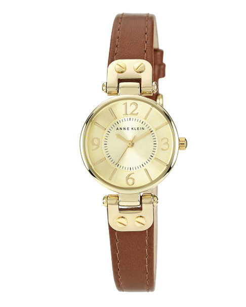 Anne Klein Gold-Tone Watch with Brown Leather Band~10 / 9442CHHY