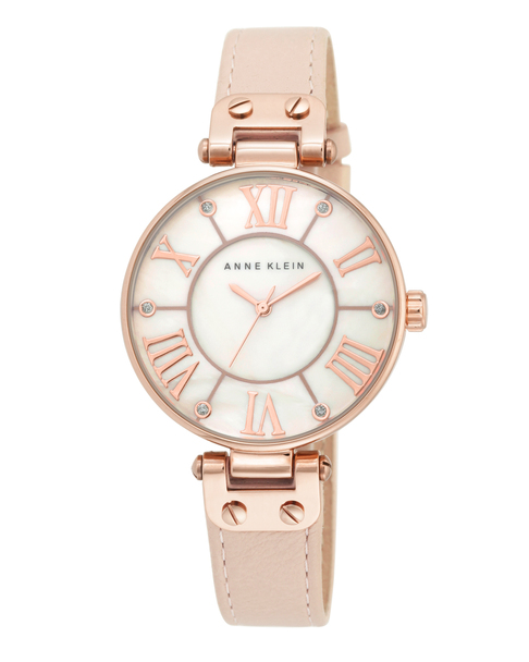 Anne Klein Round Rose Gold-Tone Watch with Light Pink Leather Band~10 / 9918RGLP