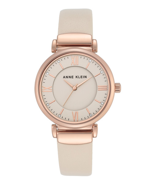 Anne Klein Rose Gold-Tone Watch with Ivory Face and Ivory Leather Band~AK / 2666RGIV
