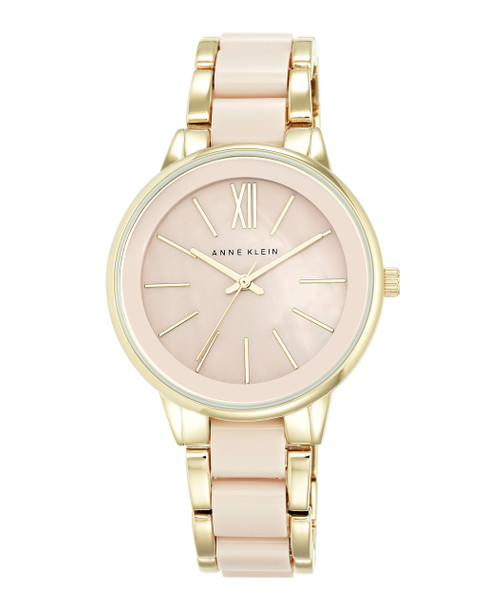 Anne Klein Round Blush and Gold-Tone Resin Bracelet Watch~AK / 1412BMGB