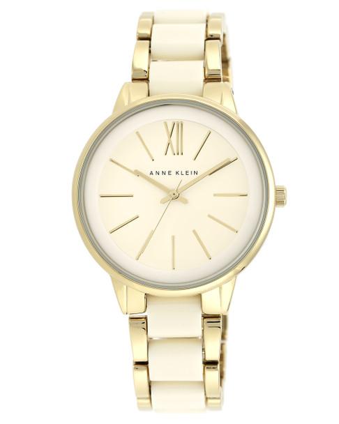 Anne Klein Round Ivory and Gold-Tone Resin Bracelet Watch~AK / 1412IVGB