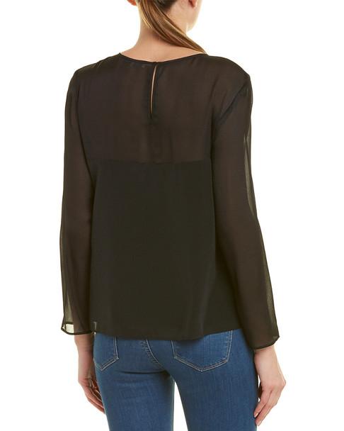 Lavender Brown Contrast Silk Top~1411276079
