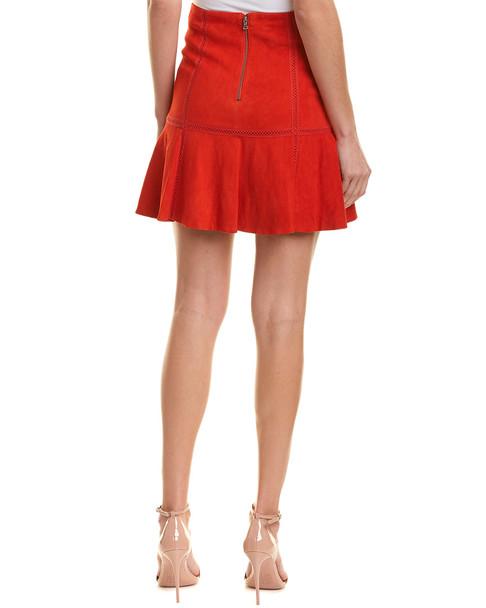 alice + olivia Delma Suede Flare Skirt~1411945303