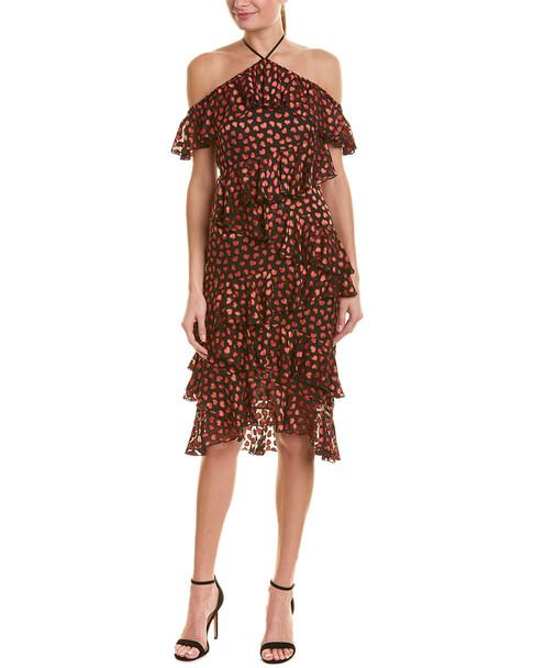 alice + olivia Off-The-Shoulder Silk-Blend Midi Dress~1411945304