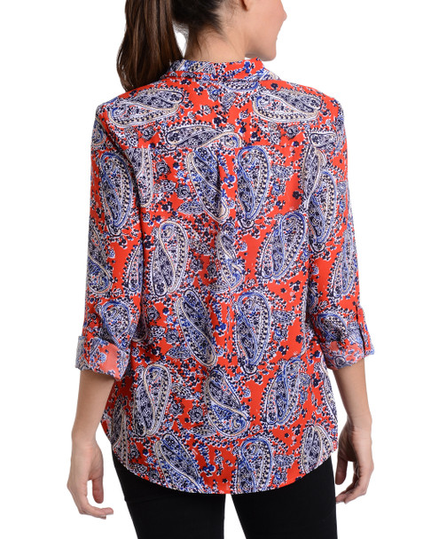 Paisley Roll Tab Button Up Blouse~Blue Lavapond*MDOB0500