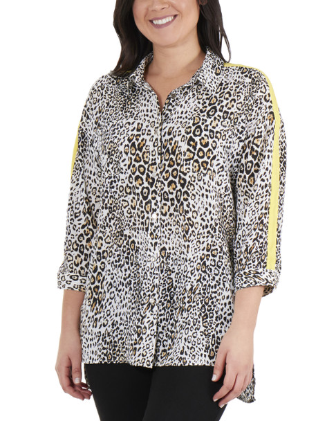 High-Low Slit Hem Button Up Blouse~Cream Fallcat*MDOB0576