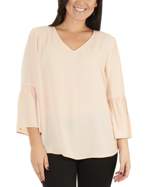 Bell Sleeve High Low Top~Pale Blush*MDOU1427