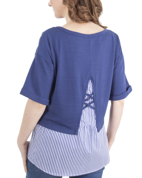 Elbow Sleeve Lattice Back Detail Layered Top~Blue Socialline*MFRU0202