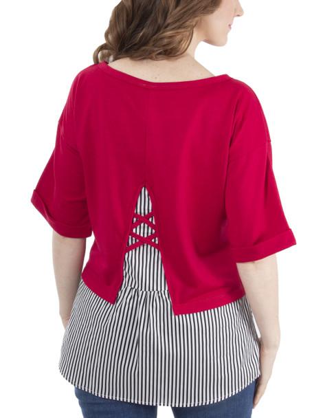 Elbow Sleeve Lattice Back Detail Layered Top~Red Triplines*MFRU0202
