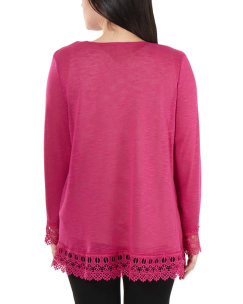 Open Front Lace Trim Cardigan~Fuchsia*MHAR0251