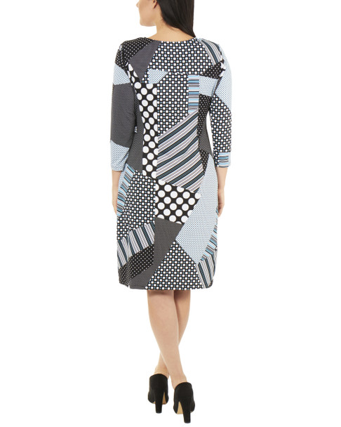 Patchwork Tie Front Wrap Dress~Black Dotpatch*MITD3695